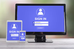 Sign in concept on different devices Stock Photo