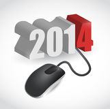 2014 sign connected to mouse illustration design. Over white vector illustration