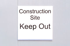 Sign 'Construction Site Keep Out' Stock Photo