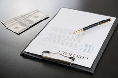 Sign contract document.money stock image