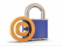 Sign of copyright with padloc. 3d Stock Image