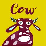 Sign Cow with illustration. Vector. royalty free illustration