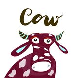 Sign Cow with illustration. Vector. Sign Cow with illustration. Icon for your web, label, poster, minimal dynamic design, banner. Hand drawn design element vector illustration