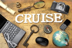 Sign Cruise, Laptop, Key, Globe, Compass, Phone, Camera, Letter, Stock Image