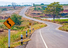 The Sign curve road Stock Image