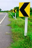 Sign of curve road on right side Royalty Free Stock Photos
