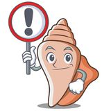 With sign cute shell character cartoon Royalty Free Stock Photo
