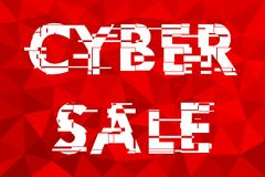 The sign of the cyber sales. The original sign of the cyber sales. Computer distorted font, vector illustration Stock Photos