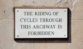 Sign cycling forbidden Stock Photos