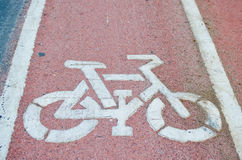 Sign of cycling road and markings. Symbol Stock Images