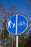 Sign of cycling and walking path Stock Photography
