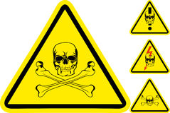 Sign on danger. With  skull and  crossed bones Stock Image