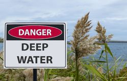 Sign danger deep water on the shore of the reservoir royalty free stock photo