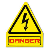 The Sign of danger of electricity. From high voltage isolated on white background Royalty Free Stock Image