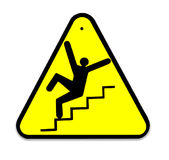 Sign of danger of falling stairs slip Stock Image