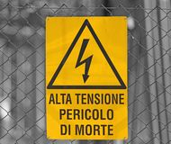 Sign for danger high voltage attention in large power station 3 Royalty Free Stock Photo