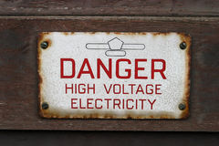 Sign Danger High Voltage Electricity Stock Photos