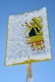 Sign danger on ski slope Stock Images