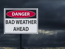 Sign dangerous bad weather ahed and dark clouds of snow and rain stock illustration