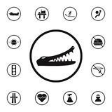 Sign dangerous crocodiles icon. Detailed set of Warning signs icons. Premium quality graphic design sign. One of the collection ic. Ons for websites, web design Stock Photos