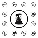 Sign dangerous volcano icon. Detailed set of Warning signs icons. Premium quality graphic design sign. One of the collection icons. For websites, web design Stock Photography