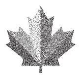 Sign dark canada maple leaf stipple. Dotted pixel Abstract maple leaf. Summer and autumn theme sale. Vector illustration. Sign dark canada maple leaf stipple Royalty Free Stock Images