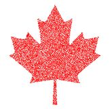 Sign dark canada maple leaf stipple. Dotted pixel Abstract maple leaf. Summer and autumn theme sale. Vector illustration. Sign dark canada maple leaf stipple Stock Photo