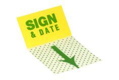 Sign & Date Stock Photo