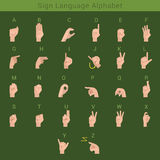 Sign deaf language - vector hand alphabet. Sign deaf language hand gestures Latin English ABC. Hands showing letters of alphabet Stock Images