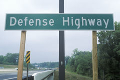 A sign for defense highway Stock Photos