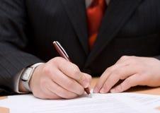 Sign del contratto Fotografia Stock