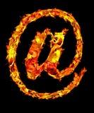At-sign del fuego Imágenes de archivo libres de regalías