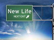 New life next exit. Sign depicting a change in life style ahead Stock Images