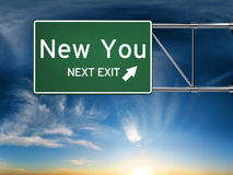 New you next exit. Sign depicting a new change in life Stock Photo