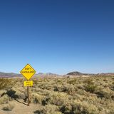 Sign in desert. Royalty Free Stock Photography