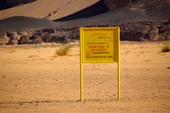 Sign in the desert, Libya Royalty Free Stock Image