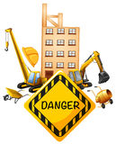 Sign design with construction equipments Royalty Free Stock Image