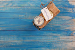 Sign Destination and Compass on old book - Vintage style Royalty Free Stock Photography