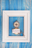 Sign Destination and Compass in a white frame - Vintage style Stock Image