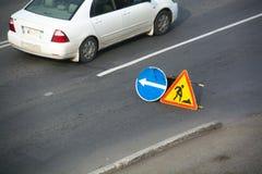 Sign of detour. Repair work. Road repair in city street Royalty Free Stock Image