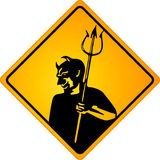 Sign with devil. Satan warning Stock Images