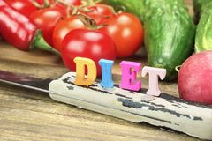 Sign Diet Made From Wood Letters And Fresh Local Vegetables Stock Images