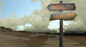 Sign direction health - wealth. Made in 3d software Royalty Free Stock Photography