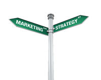 Sign Direction of Marketing and Strategy. Isolated on white background. 3D render Stock Photo