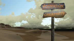 Sign direction motivation - creativity. Made in 3d software Stock Image