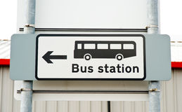 Sign for and direction to bus station. An image of a monochrome sign indicating the way to the bus station Stock Photo