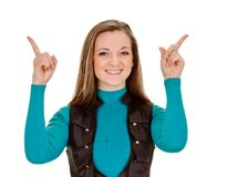 young woman pointing fingers Stock Photo