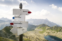Sign with direction on Zawrat Pass, Tatra Mountains Royalty Free Stock Photography
