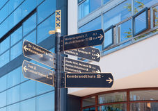 Sign with directions in Amsterdam Stock Photography