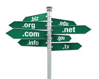 Sign Directions of Domain Names Stock Photos